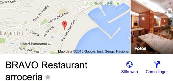 Cómo llegar al restaurante by google